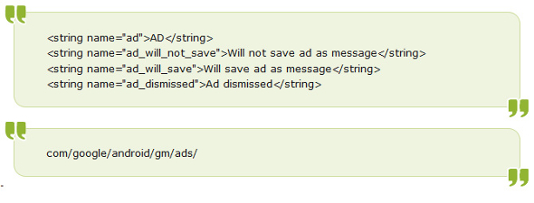 Gmail for Android save ads as messages