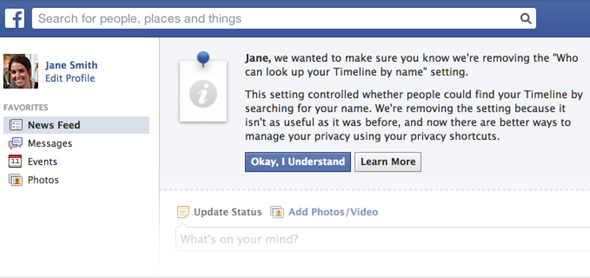 Facebook name search privacy