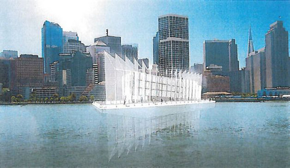 Google barge with sails artist rendering