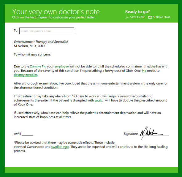 Xbox One Major Nelson doctor note