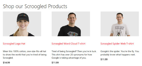 Microsoft Scroogled store