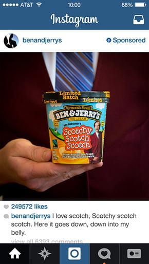 Instagram ads Ben & Jerry's