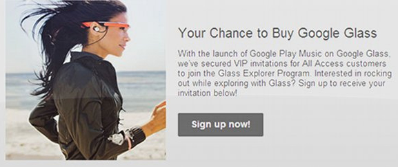 Google Glass Google Music All Access email invite
