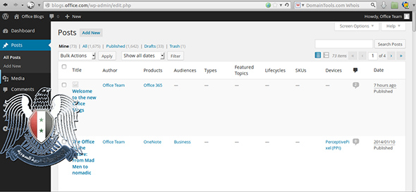 SEA screenshot of Microsoft Office Blog admin panel