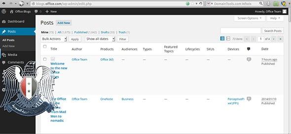 SEA screenshot of Microsoft Office Blog admin panel