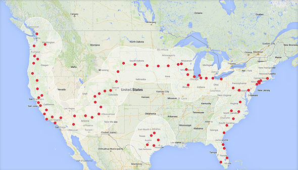 Tesla Supercharger stations map