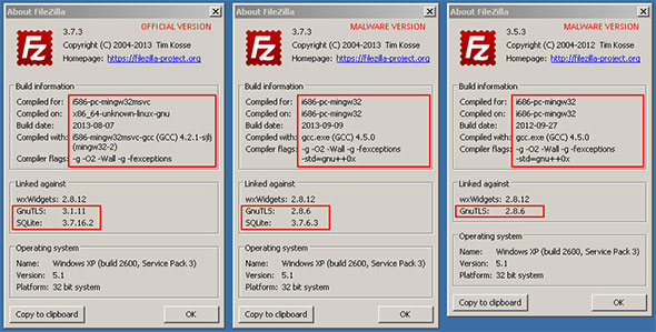 FileZilla About