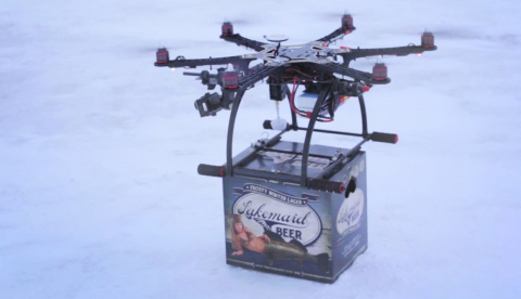 Lakemade Beer drone delivery