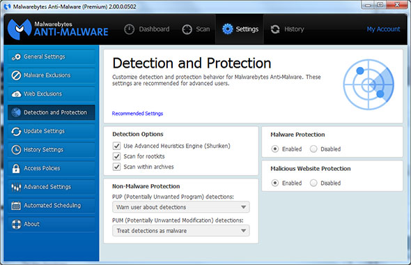 Malwarebytes 2.0 Settings