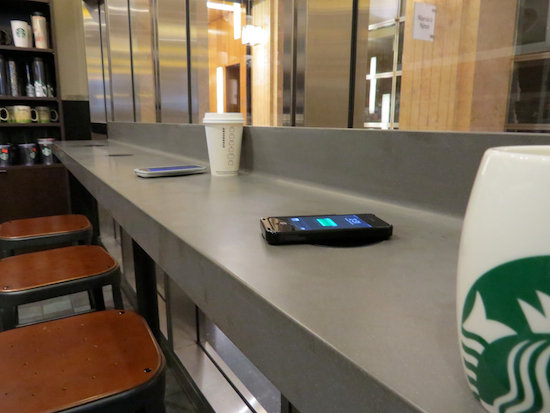 Powermat wireless charging at Starbucks