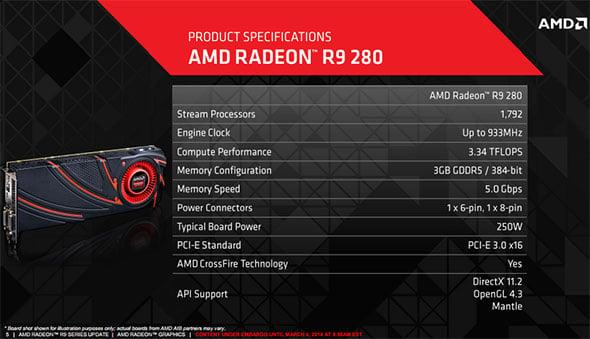 Radeon R9 280 Specs Slide