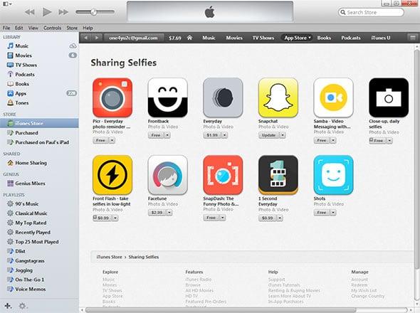 iTunes Selfies