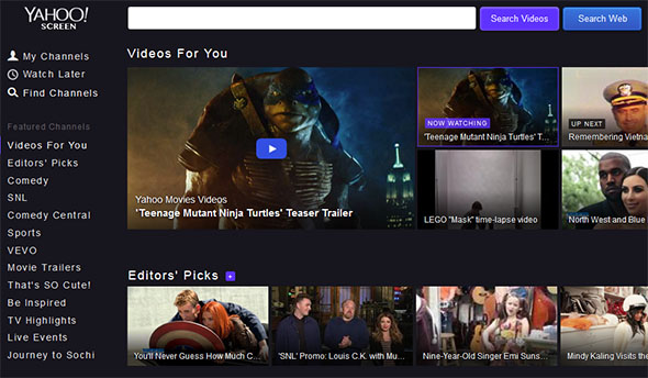 Yahoo video service