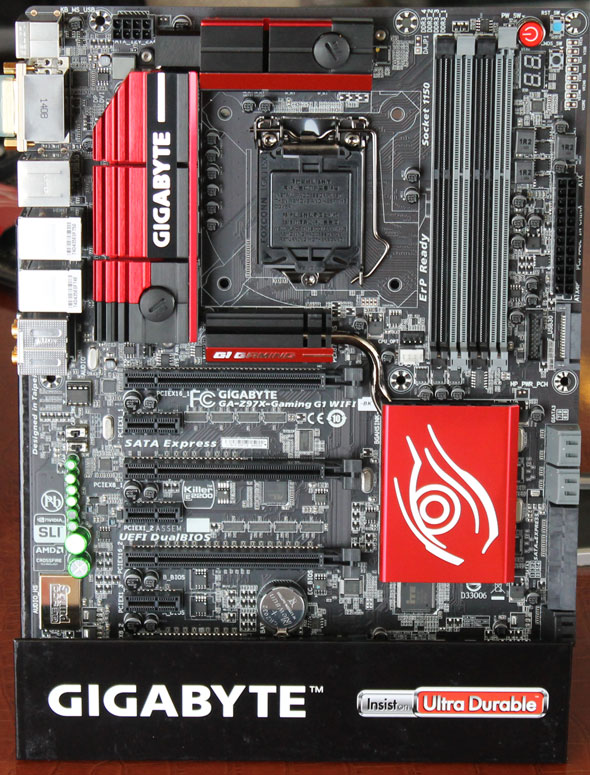 Gigabyte is touting the new red color scheme for its G1 series.