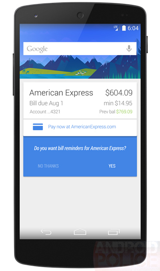google now bills