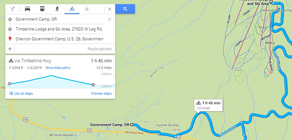 Google Maps biking elevation