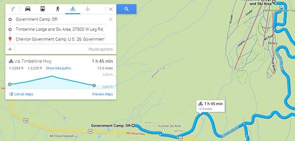 Google Maps biking elevation