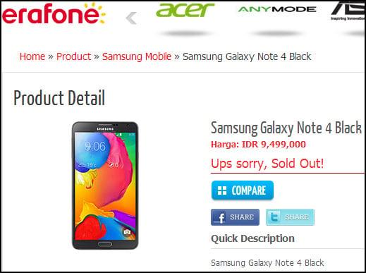 Erafone Listing for Galaxy Note 4