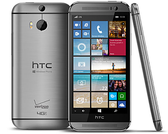 Windows Phone is now on the HTC One M8 which also has an Android version through Verizon.