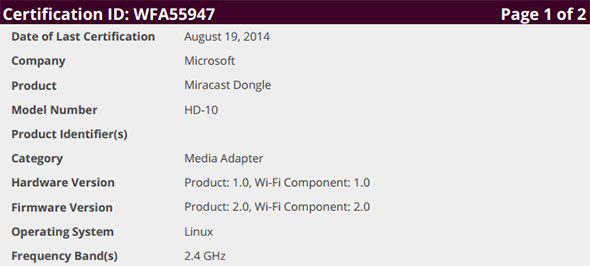 Miracast Dongle Certification