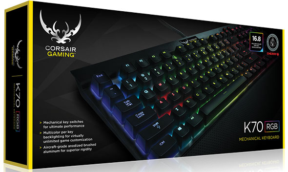 The Corsair K70 RGB mechanical keyboard is available with Cherry MX switches: red, brown, and blue