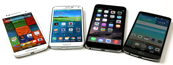 Moto X, Galaxy S5, LG G3 vs. iPhone 6 Plus