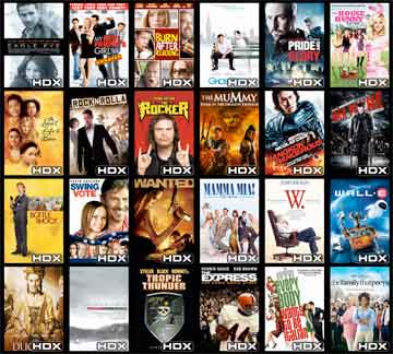 Some of Vudu's current, popular HD rental titles. (Credit: Vudu)