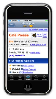 Facebook Connect iPhone Urbanspoon